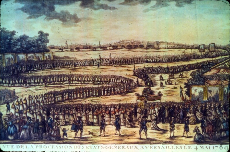Opening of the Estates General at Versailles, May 5, 1789. The opening of the Estates followed exactly the ritual of 1614, the last meeting of the assembly. This engraving represents the event in the traditional mode of a religious procession. The long procession shows the major participants in a serpentine fashion permitting the identification of the Estate of the Clergy in first position, that of the Nobility in second, and that of the Third Estate at the rear. At the head of the whole is the king and his entourage, followed immediately by the elevated symbol of the Holy Sacrament. The members of the Third Estate believed that their position and reception at Versailles was a humiliation.