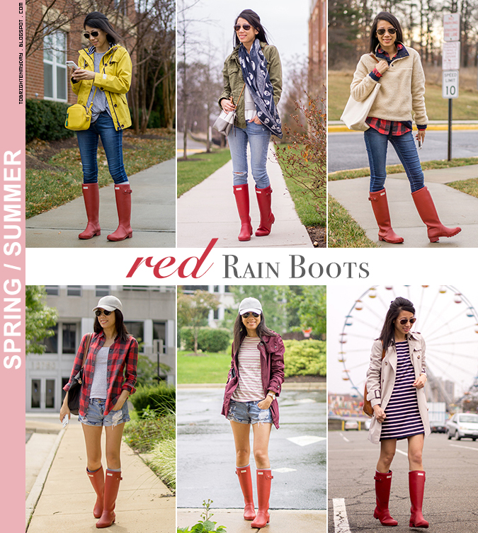 6 ways to wear red rain boots - spring/summer edition