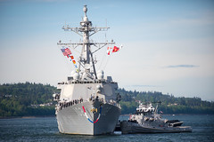 USS Sampson (DDG 102) approaches the pier at Naval Station Everett, May 9. (U.S. Navy/MC2 Jonathan Jiang)