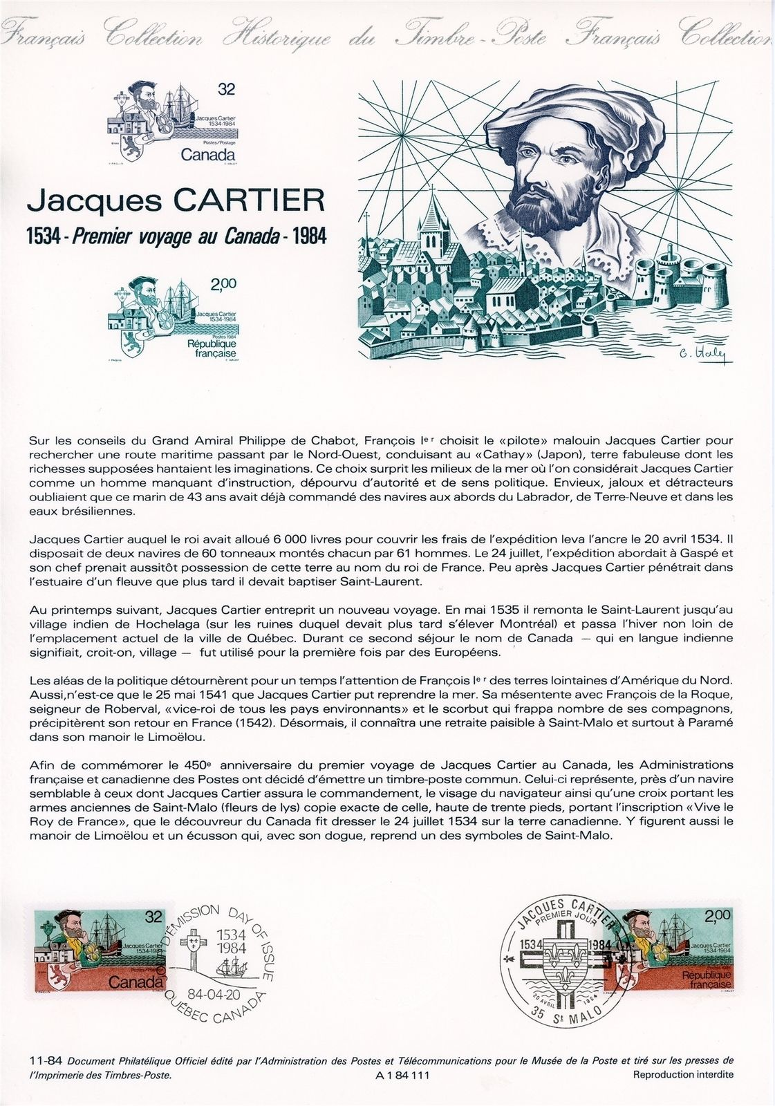 Information sheet bearing copies of the joint issue of Jacques Cartier stamps issued in 1984 by Canada - Scott #1101 - and France - Scott #1923.