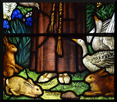 Two geese, two hares, a rabbit and a mouse at the feet of St Francis (Powell & Sons, 1920)