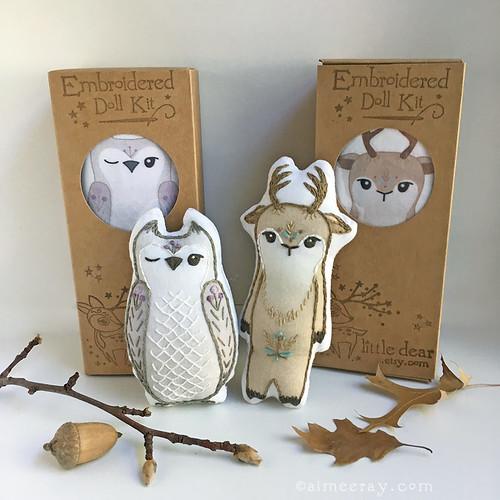 embroidered animal doll kits