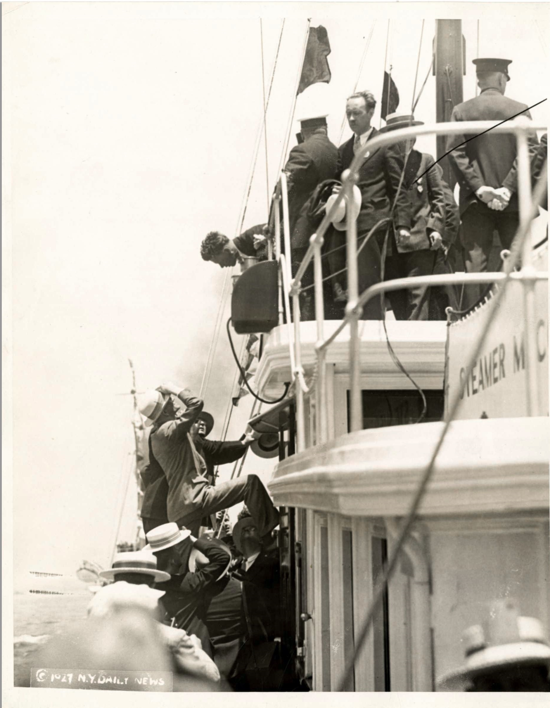 Charles Lindbergh arrives in New York harbor following a seaplane flight from Washington, D.C. on June 13, 1927.