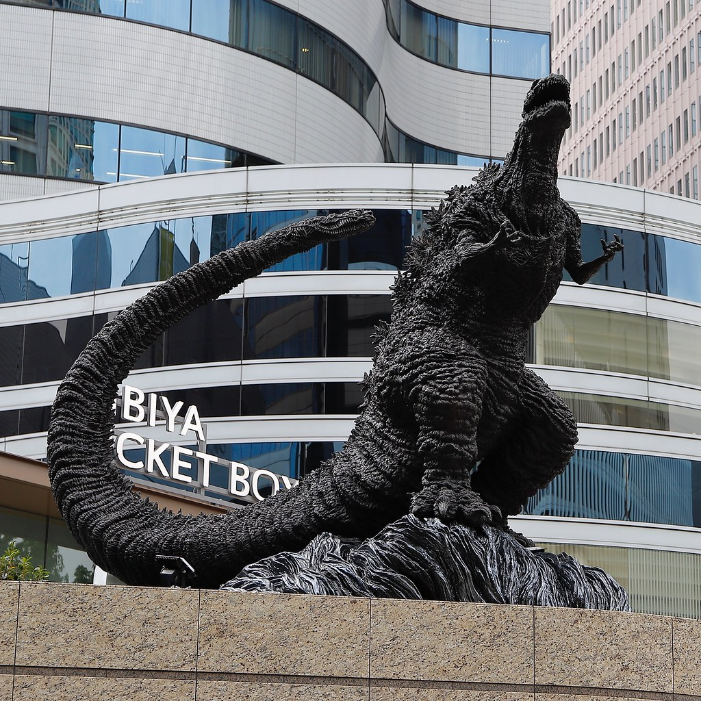 The Statue of Godzilla standing in Hibiya, Downtown Tokyo