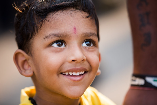 Portrait of a smiling boy in Mumbai, India.