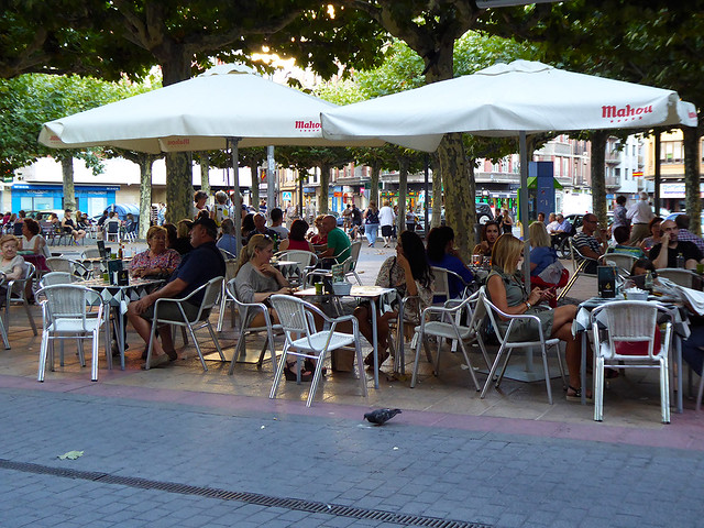 Large open areas or Praza's provide extensive areas for guests at the many bars and cafes that service the many tourists in most cities in Spain.