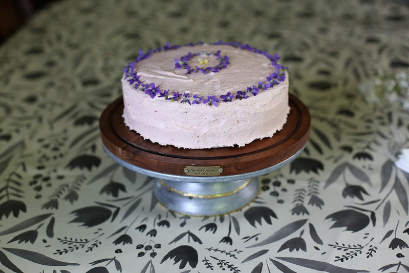 C's birthday cake as requested: chocolate with strawberry frosting and violets on top
