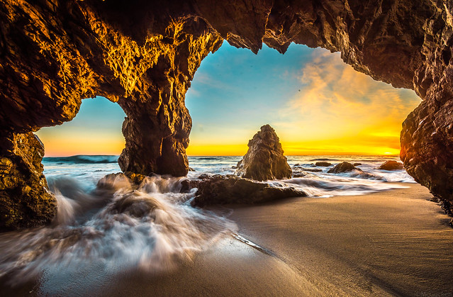 Malibu Sea Cave Sunset! Red & Orange Clouds Seascape Ocean Landscape Photos! High Resolution California Sunset Photos! Socal Stormy Skies El Matador Beach Sunset! Elliot McGucken High Res Fine Art Landscape & Nature Photography Scenic California Sunset!