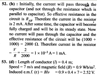 NEET AIPMT Physics Chapter Wise Solutions - Electromagnetic Induction and Alternating Current explanation 52,53