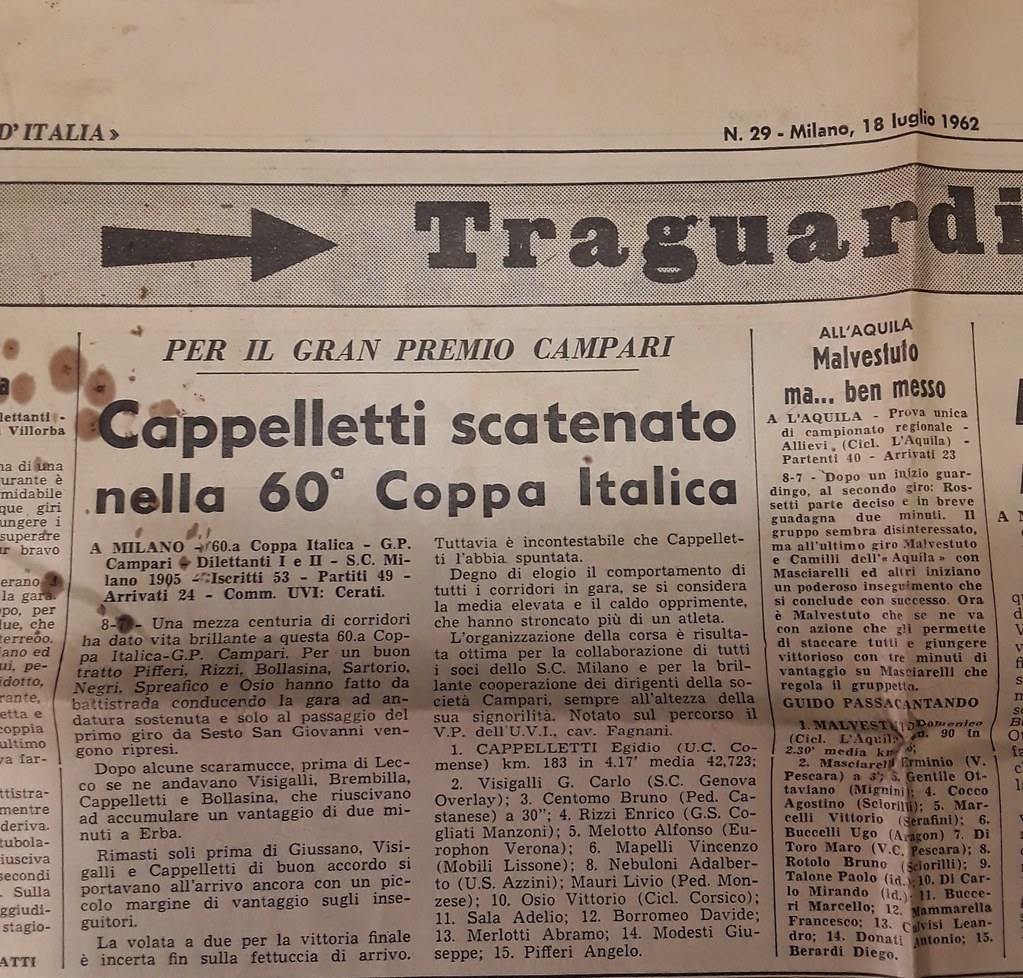 Vittoria nella Coppa Italica 1962 (materiale inviato dalla figlia Silvia)