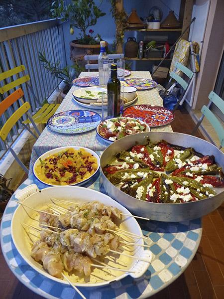 dîner grec sur la terrasse