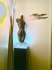 Black Laminate Pedestal with Ambient Light