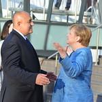Boyko Borissov, Angela Merkel at Sofia Tech Park ahead of the EU leaders' informal dinner