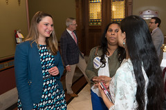 State Rep. Stephanie Cummings talks with Charter Schools' advocates Diane Khan and Ana Welcome, both of Waterbury, at the Capitol on April 26.