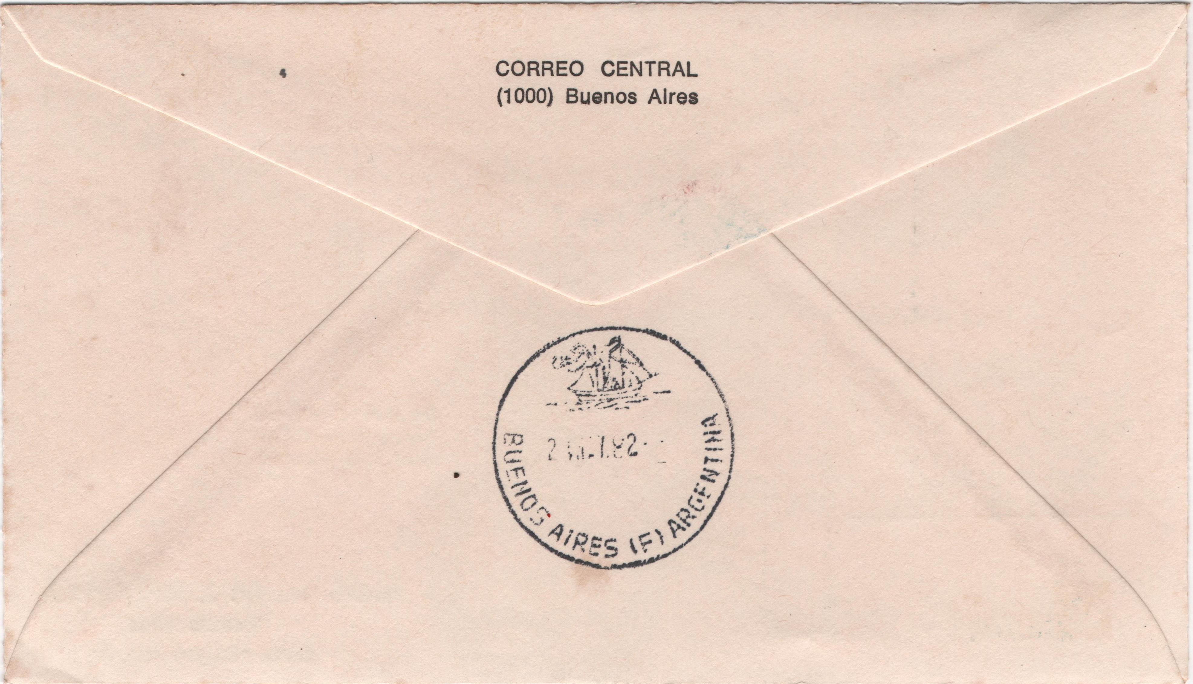 Cover bearing two copies of Scott #1338, the first in the lower center with a Buenos Aires first day of issue postmark of April 22, 1982 and the second in the upper right corner bears a Buenos Aires cancellation dated May 10, 1982. The upper center has a copy of Argentina Scott #1307 - a 2000-peso stamp issued on June 13, 1981, to commemorate the 20th anniversary of the Antarctic Treaty and portraying the icebreaker Almirante Irizar - with a postmark from the Falklands (Malvinas) dated May 16. The back of the cover bears a Buenos Aires postmark of May 2.