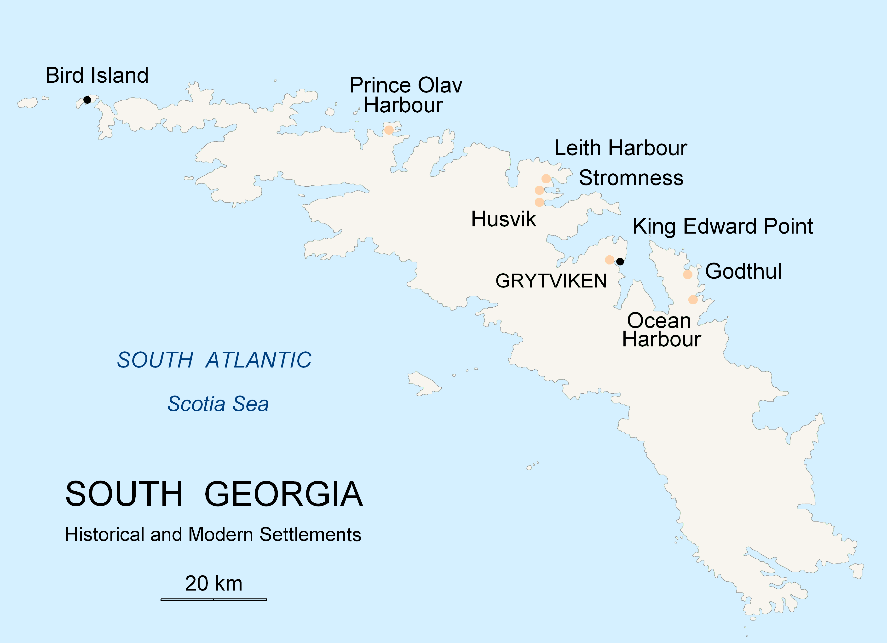Map of settlements on South Georgia Island.