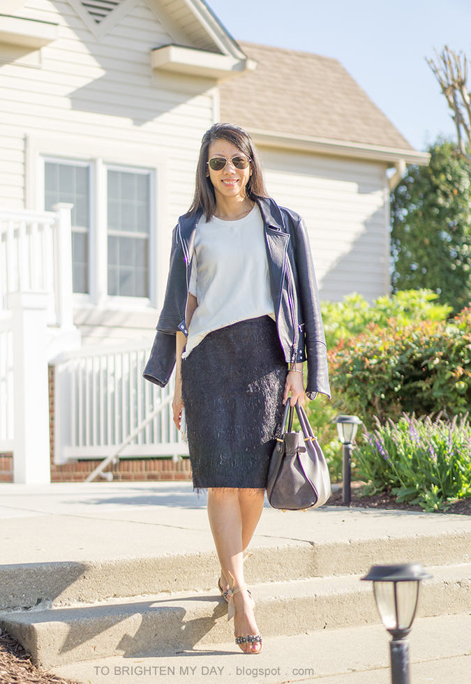 black leather jacket, white fringe sweater tee, black eyelash pencil skirt, gray tote, jeweled suede sandals with ankle ties