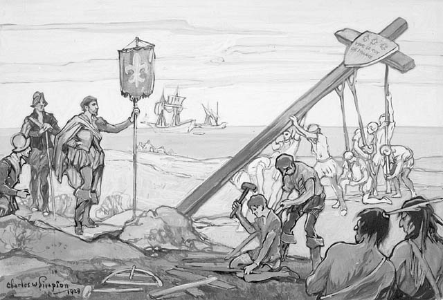Drawing depicting raising the cross at Gaspé Bay on July 24, 1534, claiming the land for the Kingdom of France.