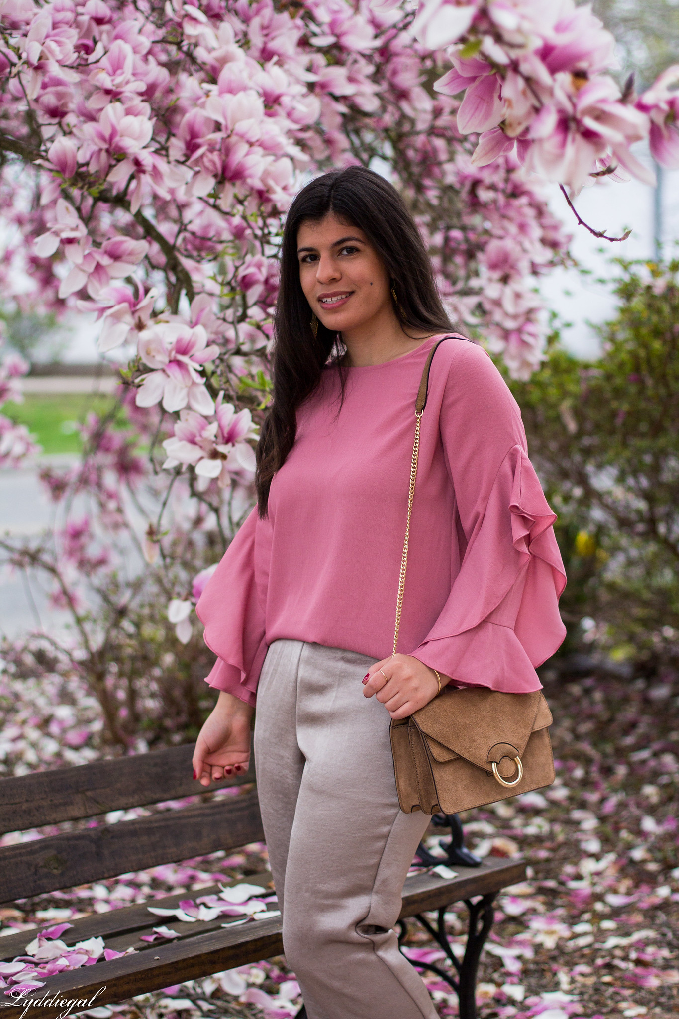 pink ruffled sleeve blouse, satin pants, suede ring bag-7.jpg