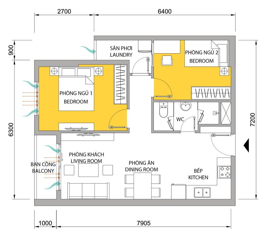 Mặt bằng căn hộ M-one 2 phòng ngủ cho thuê.