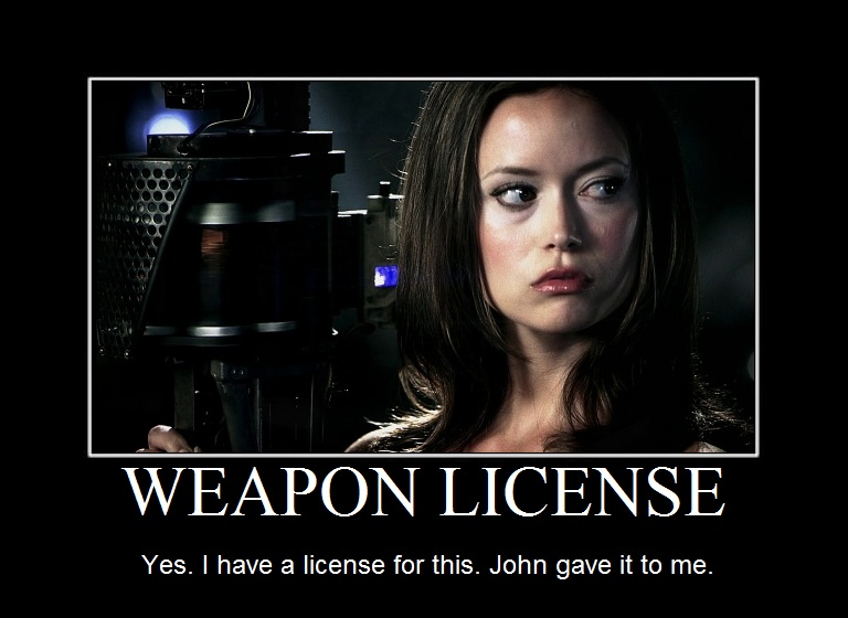 Summer Glau TSCC Cameron weapon license