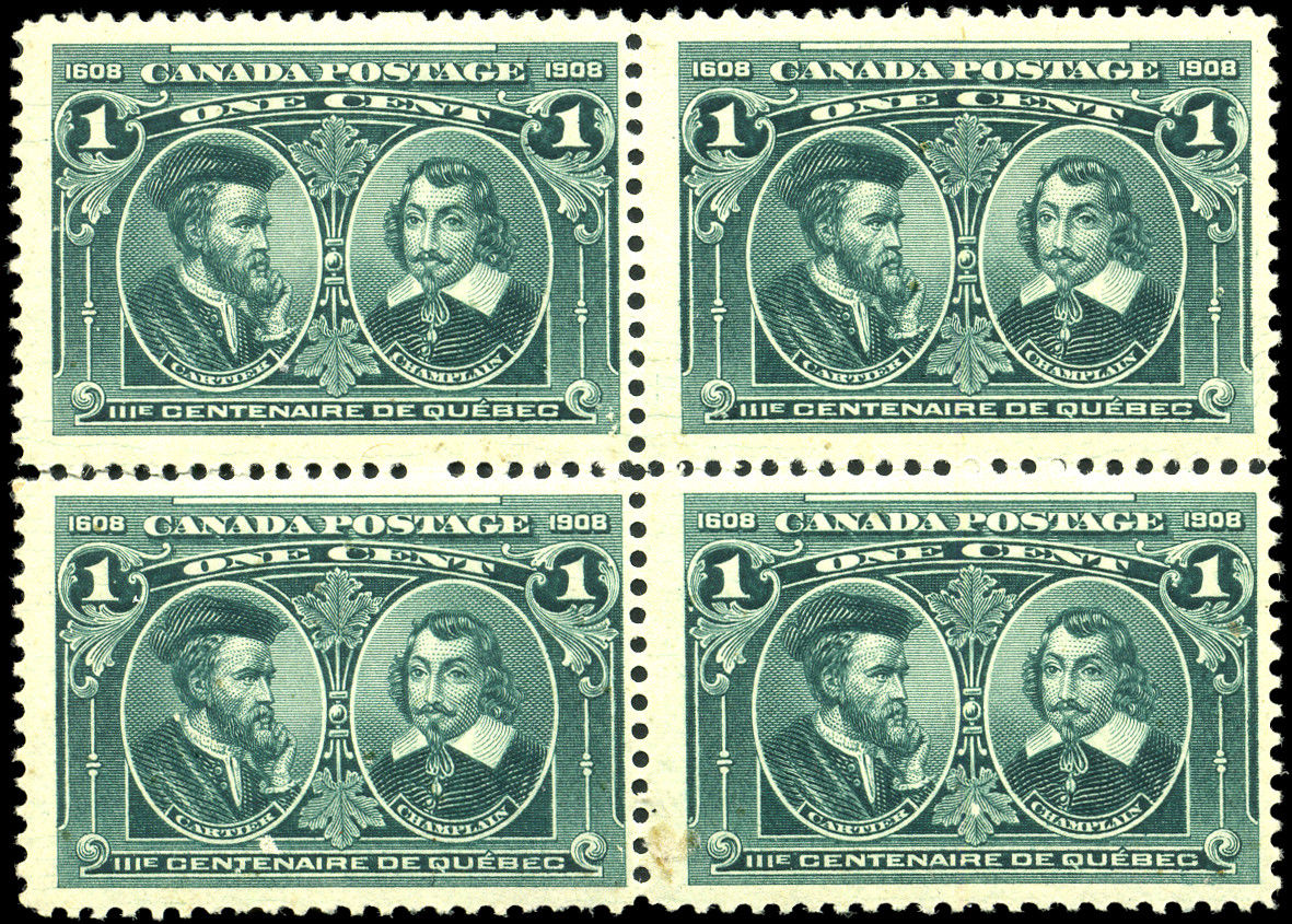 Canada - Scott #97 (1908) mint block of 4, lightly-hinged
