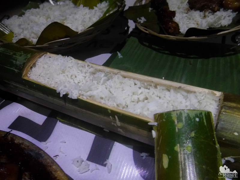 Rice cooked in a bamboo