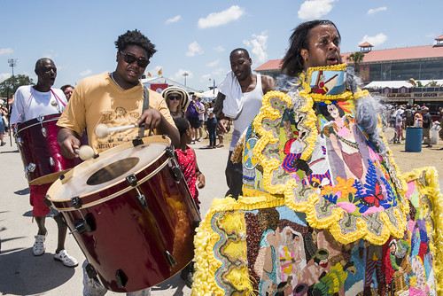 Young Magnolias Mardi Gras Indians during Jazz Fest Day 7 on May 5, 2018. Photo by Ryan Hodgson-Rigsbee RHRphoto.com