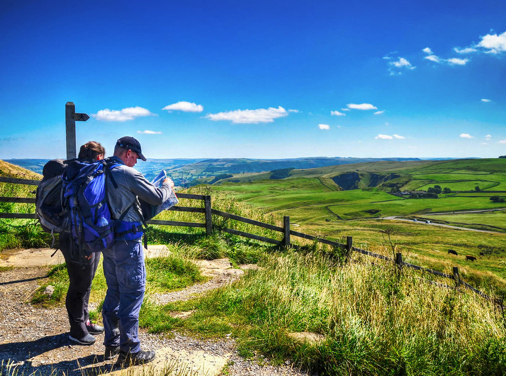 Surveying the route from Mam Tor (Mother Hill), the Peak District. Credit Baz Richardson, flickr