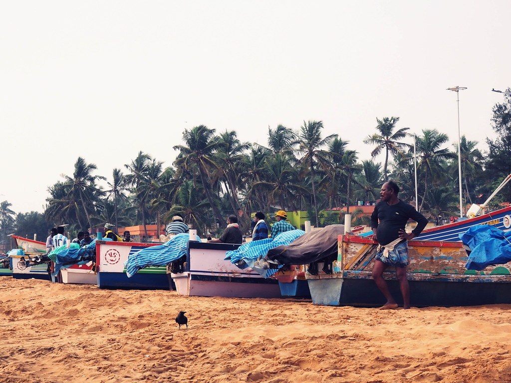 Fisherman boat lined up at beach Kerela Trivandrum _effected