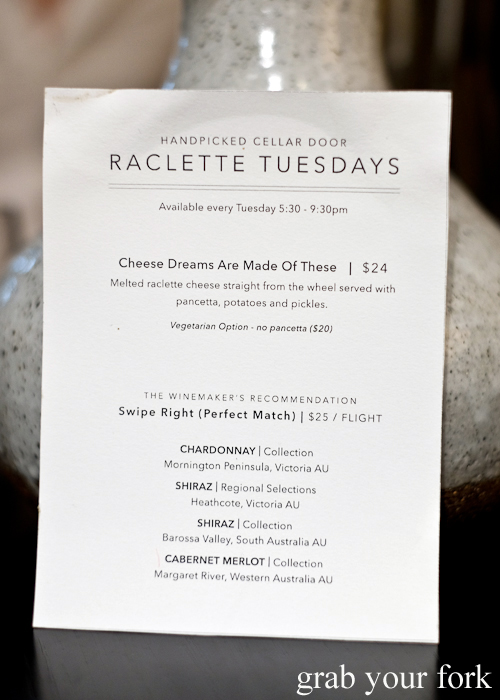 Raclette Tuesdays menu at Handpicked Cellar Door in Sydney