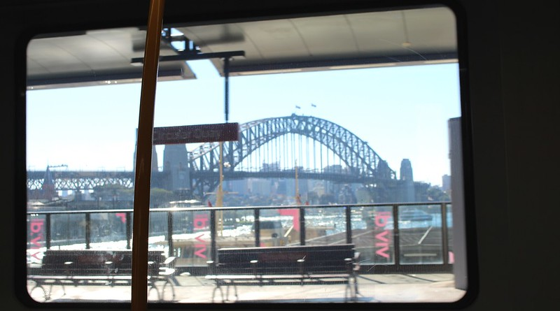 View of the Sydney Harbour Bridge from Circular Quay station