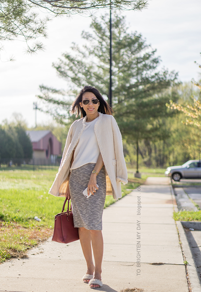 beige tweed jacket, fringe sweater tee, marled knit pencil skirt, burgundy tote, gold watch, embellished heels with pearls