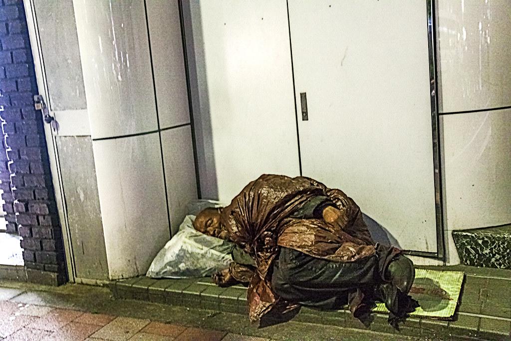 Homeless man in Ginza--Tokyo