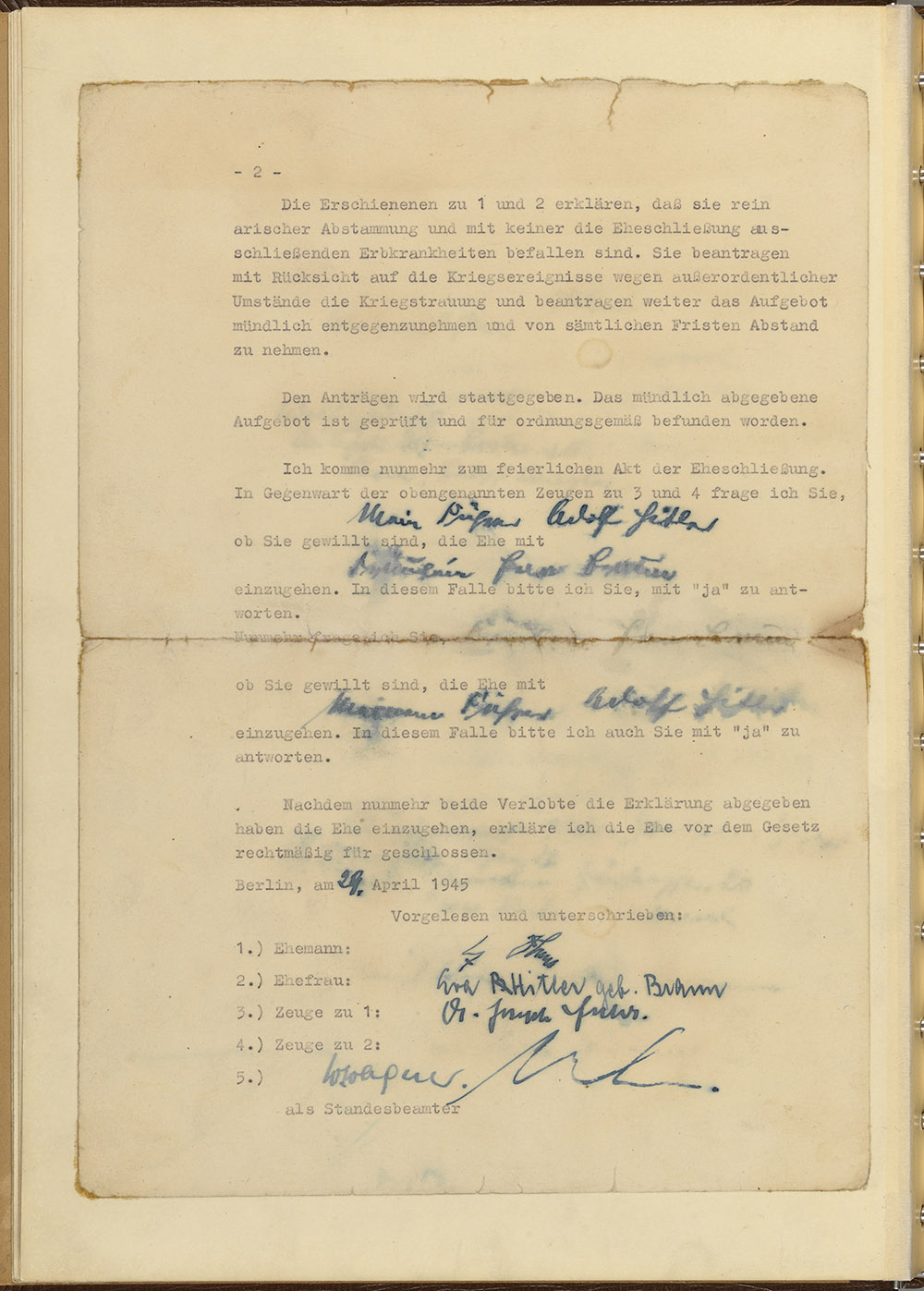 Back page of the marriage certificate signed by Adolf Hitler and Eva Hitler nee Braun on the morning of April 29, 1945.