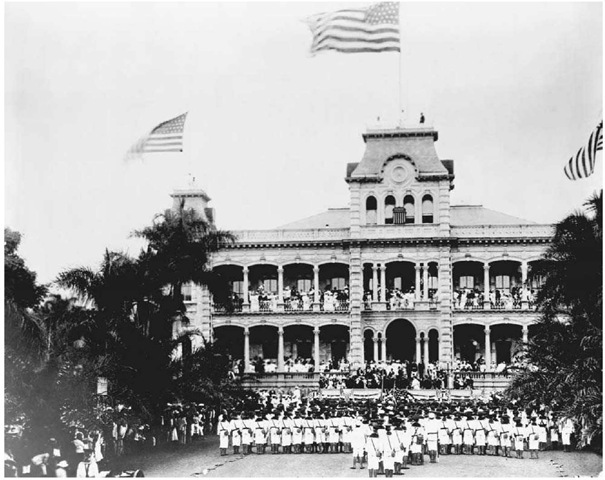 U.S. flags flying at Iolani Palace in Honolulu on Annexation Day 1898.