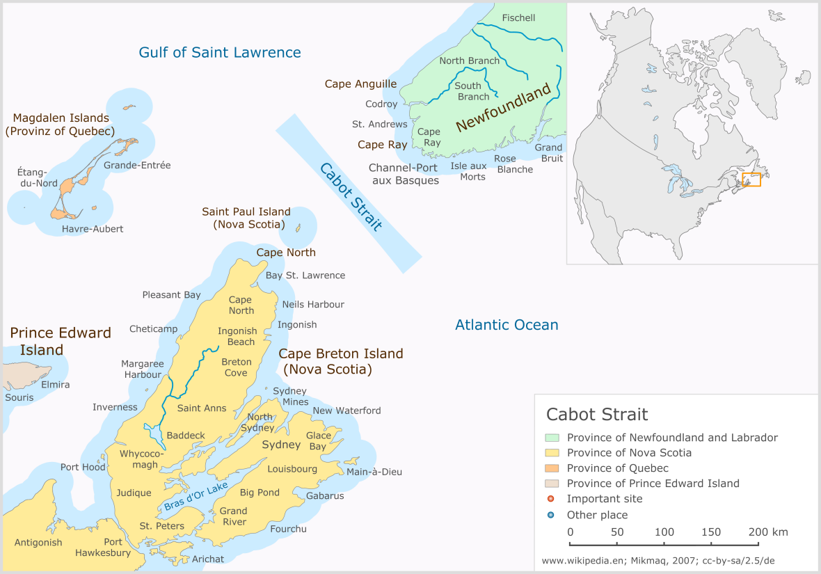 Map of the Cabot Strait between Newfoundland and Nova Scotia, eastern Canada.