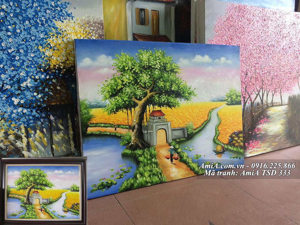 Tranh sơn dầu cổng làng nông thôn quê em