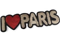 XL Pailletten I Love Patch PARIS, 25cm, Aufbügler, Aufnäher