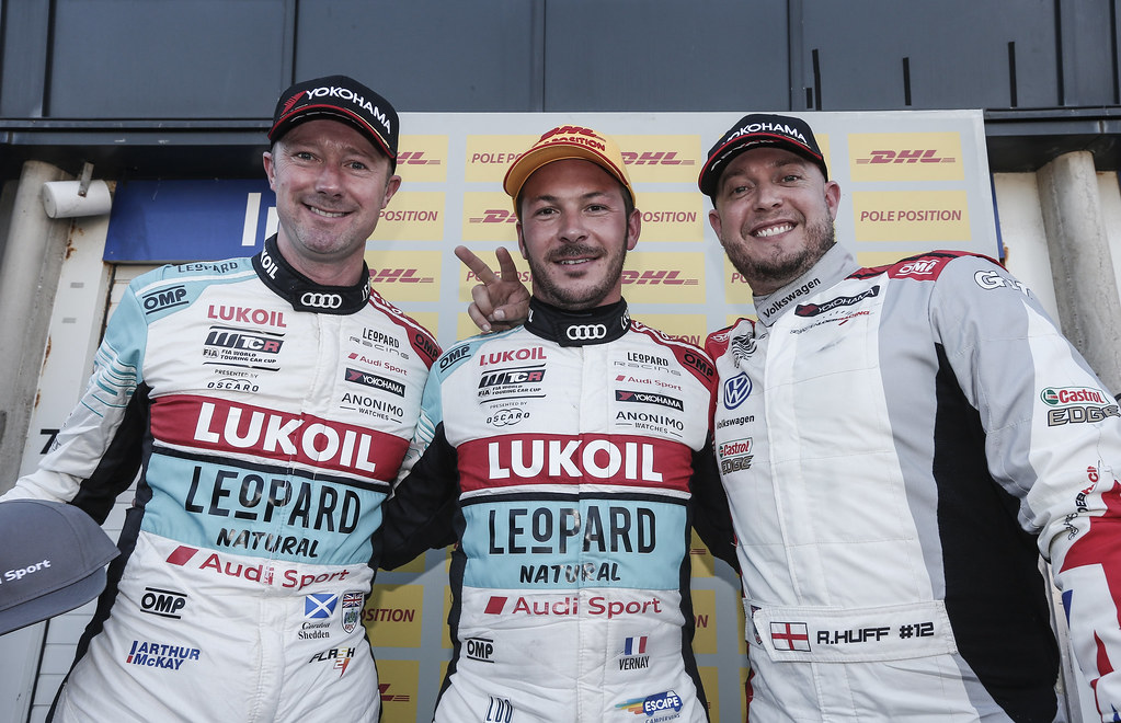 SHEDDEN Gordon, (gbr), Audi RS3 LMS TCR team Audi Sport Leopard Lukoil, portrait, VERNAY Jean-Karl, (fra), Audi RS3 LMS TCR team Audi Sport Leopard Lukoil, portrait, HUFF Rob, (gbr), Volkswagen Golf GTI TCR team Sebastien Loeb Racing, portrait during the 2018 FIA WTCR World Touring Car cup of Zandvoort, Netherlands from May 19 to 21 - Photo Jean Michel Le Meur / DPPI