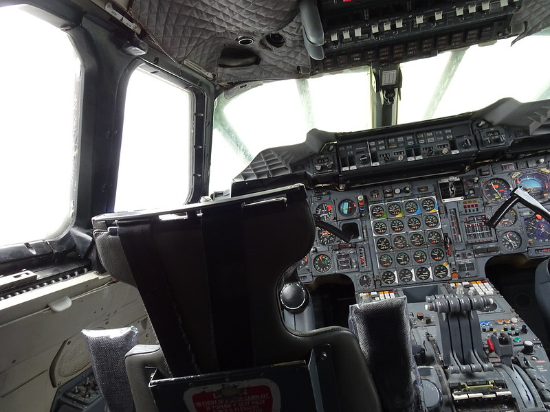 Cockpit flight deck of British Airways Concorde G-BOAD Intrepid Air, Sea, Space Museum, New York City