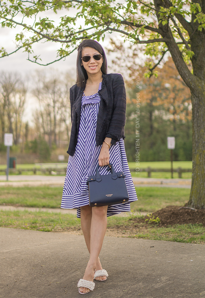 navy tweed draped jacket, striped ruffle midi dress, blue tote, embellished sandals with pearls