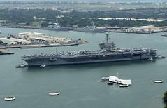 USS Theodore Roosevelt (CVN 71) passes the USS Arizona Memorial, April 27. (U.S. Navy/MC3 Jessica O. Blackwell)