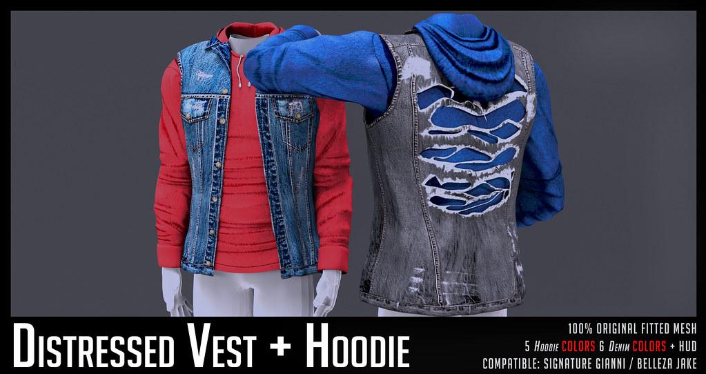 HEVO – Distressed Vest + Hoodie