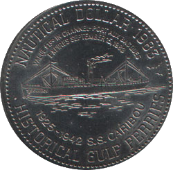 Coin marking the sinking of S.S. Caribou.