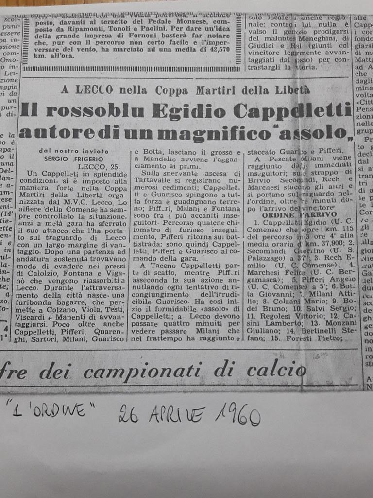 Cappelletti vince a  Lecco nella Coppa Martiri della Libertà 1960 (materiale inviato dalla figlia Silvia)