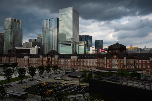 丸ビルのテラスから見る東京駅