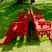 Red Benches at Cawdor Castle, Scotland