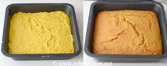 Eggless mango cake preparation 11
