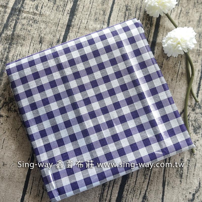 紫灰格銀蔥面 格紋 襯衫洋裝服裝布料 FC490365